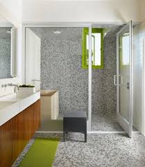 modern bathroom tile gray. Grey Tiles On The Walls, Floor And In Shower Contrast With Lime Green Accents Modern Bathroom Tile Gray A