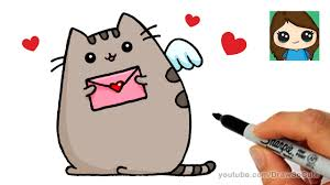 cats and dogs in love drawing. Exellent Cats How To Draw Pusheen Cat Valentines Love Easy And Cats Dogs In Drawing D