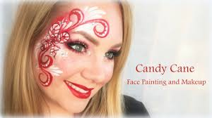 sweet candy cane face painting and makeup