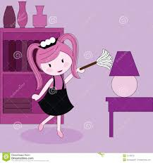 furniture duster. Girl With A Duster Cleaning Furniture Stock Vector - Illustration Of Cabinet, Girl: 12126970