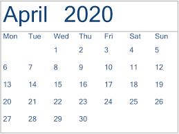 Free Printable April Calendar 2020 Printable April 2020 Calendar Monthly Design Free Latest