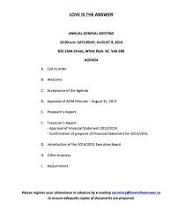 Annual Agenda LITA's Annual General Meeting Aug 24 24 Love Is The Answer 8