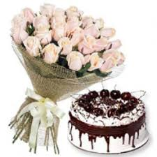 white roses with vanila cake birthday gifts for dad bangalore