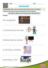 Preposition Chart For Kids Free Printable Prepositions Worksheets For Pre K Kindergarten