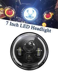 Dot Approved Motorcycle Lights Ironwalls 1pcs Dot Approved 7 Inch Led Headlight Bulbs Headlamps Angel Eye Round Halo Black For Harley Motorcycle Jeep Wrangler Jk Tj Jk Hummer Land