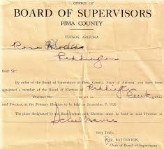 Board of Election Certificate from the Board of Supervisors, Pima County. -  Rosa Ronquillo Rhodes - The Life of the Redington Ranch Postmistress -  Arizona Memory Project