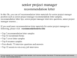 Letter Of Recommendation For Project Manager Senior Project Manager Recommendation Letter