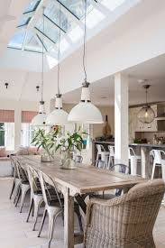 industrial style dining room lighting. dining chairs and low modern industrial style lighting | love how the skylight room