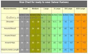 Size Chart For Ready To Wear Salwaar Kameez Ready Made