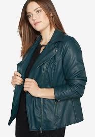 on faux leather moto jacket