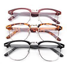 uni men women half frame eyegles clear lens plain gles vision eyewear