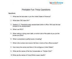 Printable Fun Trivia Questions Fun Trivia Questions