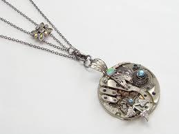steampunk necklace sterling silver dragonfly watch movement gears opal blue swarovski crystal leaf slide chain