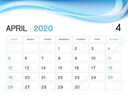 April 2020 Template April 2020 Year Template Calendar 2020 Vector Desk Calendar