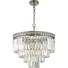 vyana 4 light tiered ceiling pendant in brushed nickel finish with crystal glass