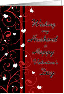 Happy Valentine's Day for Husband - Red, Black & White Hearts card