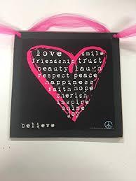 hot pink heart wooden teen girls bedrrom wall art sign love friendship trust peace happiness faith on teenage girl wall art with amazon hot pink heart wooden teen girls bedrrom wall art sign