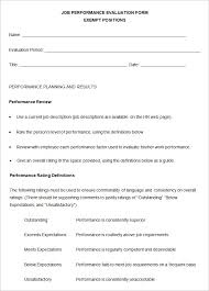 Job Performance Evaluation Form Templates 9 Sample Performance Review Templates Pdf Doc Free Premium