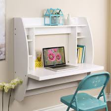 white wooden floating wall mounted computer desk with side and top shelves added by blue folding metal chair