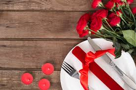 table setting background. valentines day table setting with plate, gift, red ribbon and roses. background i