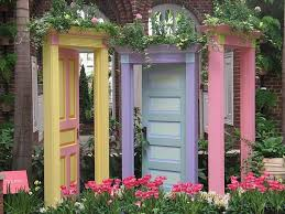 doors with yellow purple and pink colors and flowers