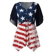 Ekimi Womens Summer American Flag Print V Neck Asymmetric