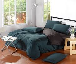 green cotton duvet cover simple bedroom ideas with modern brown bedside table and black dark