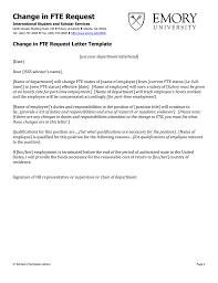 Change In Fte Request Change In Fte Request Letter Template