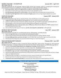 Food and Beverage Management Resume