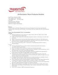 Job Description Master Production Scheduler