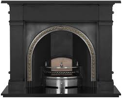 kensington cast iron fireplace insert brass trim highlight