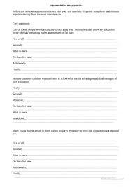 argumentative essay worksheet esl printable worksheets made argumentative essay full screen