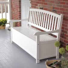 Curved-Back Outdoor Wood 40-Gallon Storage Bench - White | Hayneedle