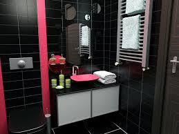 Sweet Pink Accents At Black Bathroom Ideas For Modern Bathroom ...
