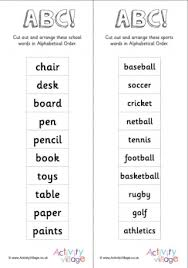 Alphabetical Order Alphabetical Order Cards