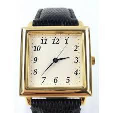 citizen watch watch men gap dis possible gold white clockface black leather belt quartz square waterproofing