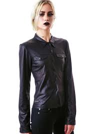eternal ation faux leather blouse