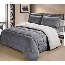 ultra plush mink faux suede and sherpa 3 piece comforter set