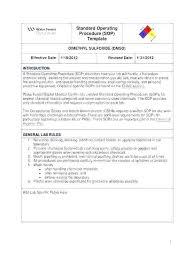 standard operating procedures template word procedure format template