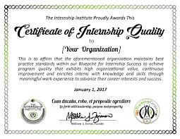 Certification Of Internship Quality The Internship Institute