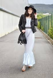 white dress outfit with black leather jacket