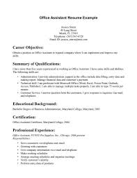 Career Objective With Office Assistant Resume Example And