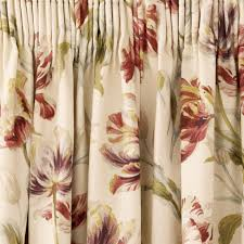 Gosford Cranberry Floral Pencil Pleat Ready Made Curtains | Laura Ashley