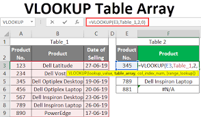 vlookup table array how to use table