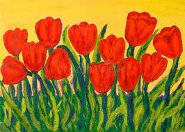 red tulips painting stock ilration ilration of visual 83328582
