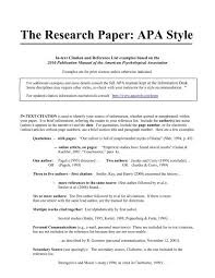 Apa Style For Research Paper The Research Paper Apa Style Oswego