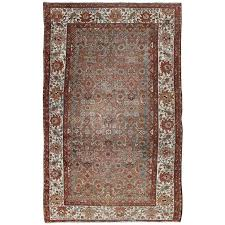 antique persian malayer rug with gray light blue red and taupe for