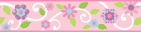 Flower Wall Paper Border Pink Floral Scroll Peel And Stick Kids Wallpaper Border