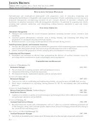Resume Sample For Restaurant Manager Restaurant Resume Marvelous