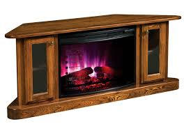 amish cascadia corner electric fireplace tv stand